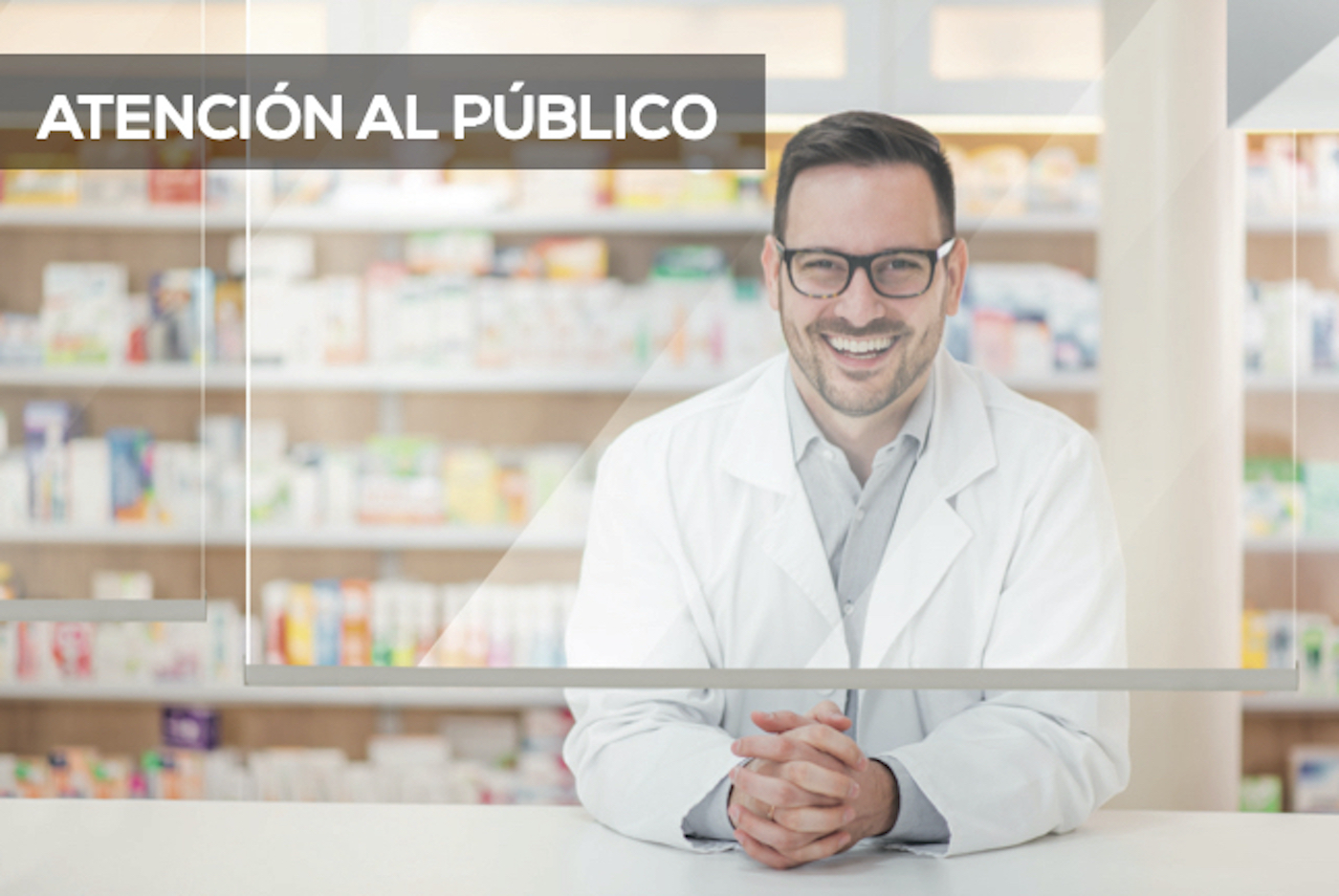 estores transparentes para la atencion al publico en mostradores de tiendas y farmacias